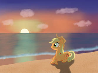 Applejack at the beach by StormDragon3