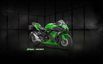 Ninja 300 Green Showroom Wallpaper - (Branded)