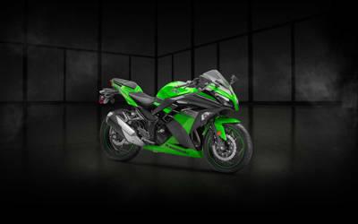 Ninja 300 Green Showroom Wallpaper - (Unbranded)