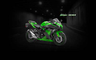 Ninja 300 Green Tunnel Wallpaper - (Branded)