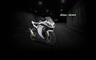 Ninja 300 White Tunnel Wallpaper - (Branded)