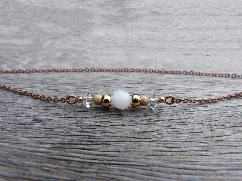 Copper gold and white bracelet by Lady-Kiwi