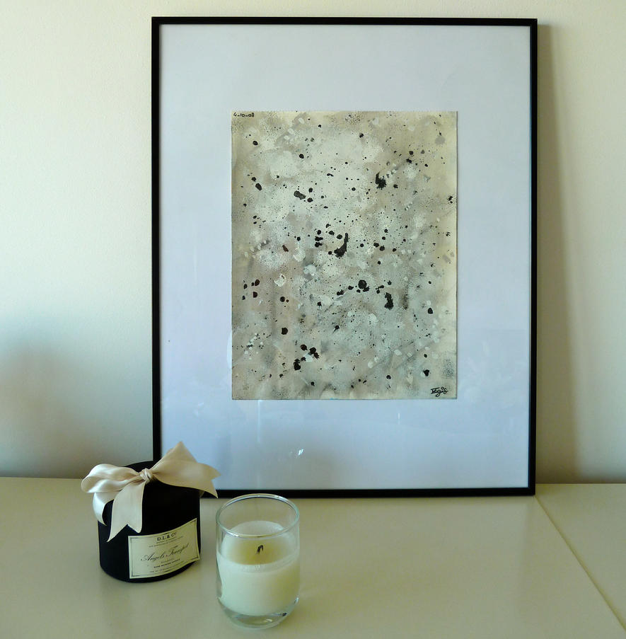 Abstract black and white painting by Lady-Kiwi