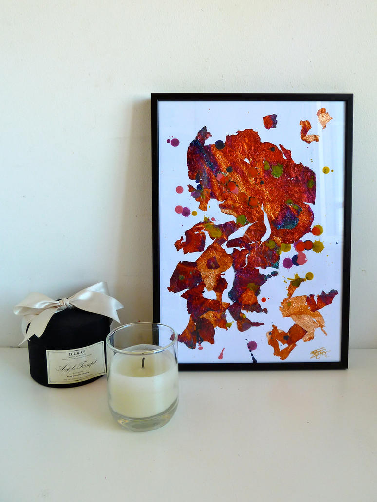 Multicolor Melted Wax and Gilding Chips Painting by Lady-Kiwi