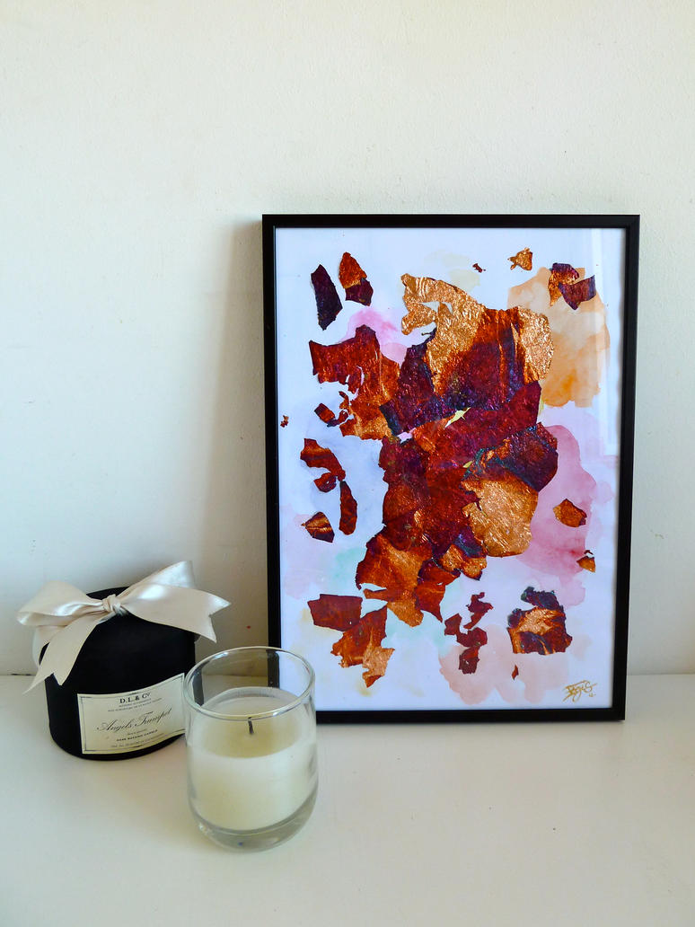 abstract painting glinding chips and watercolor by Lady-Kiwi