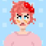 Sayori PixelArt Portrait (Pink shrit)