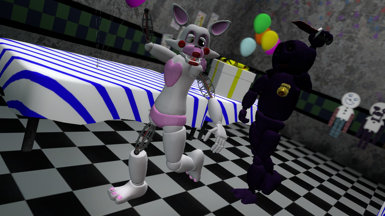 Purple guy attacks mangle by therubyminecart on deviantart