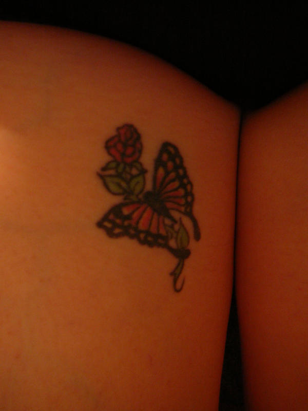 Flutterby Flower - flower tattoo