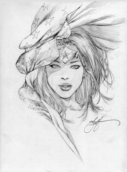 Wonder woman stars head sketch