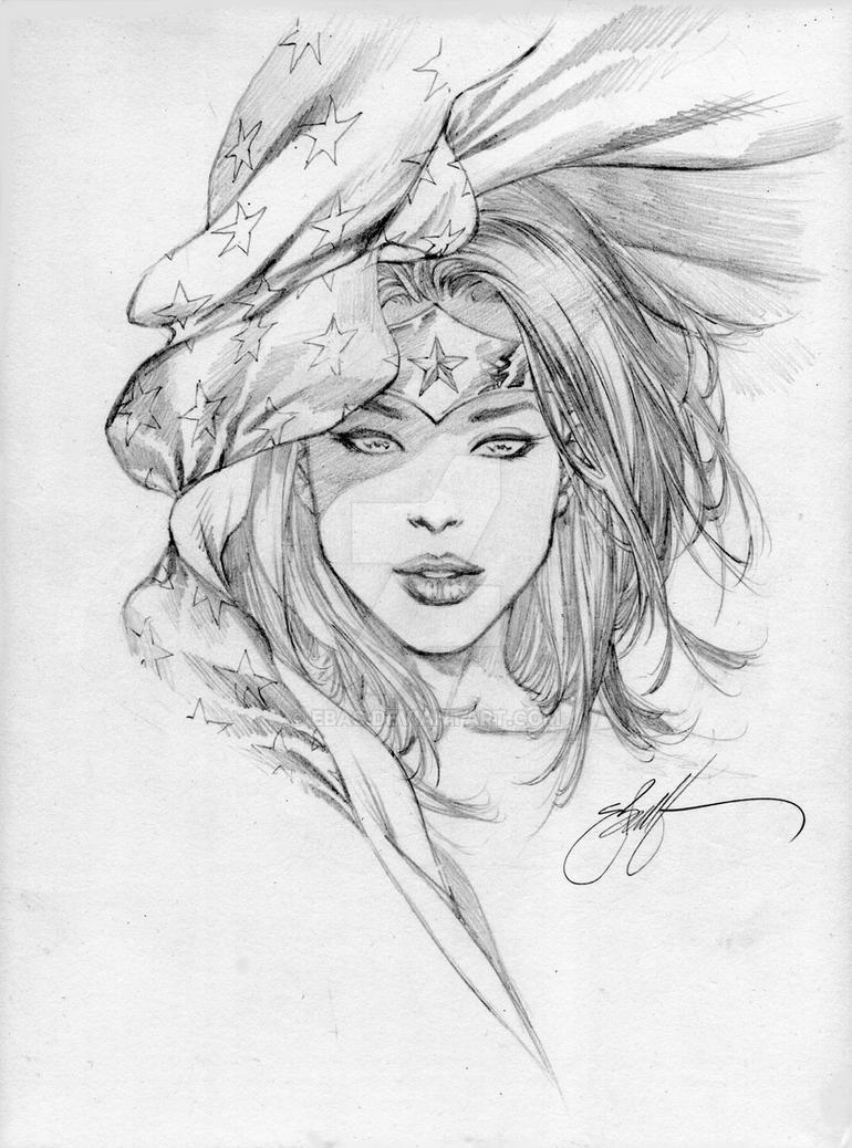 Wonder woman stars head sketch by ebas