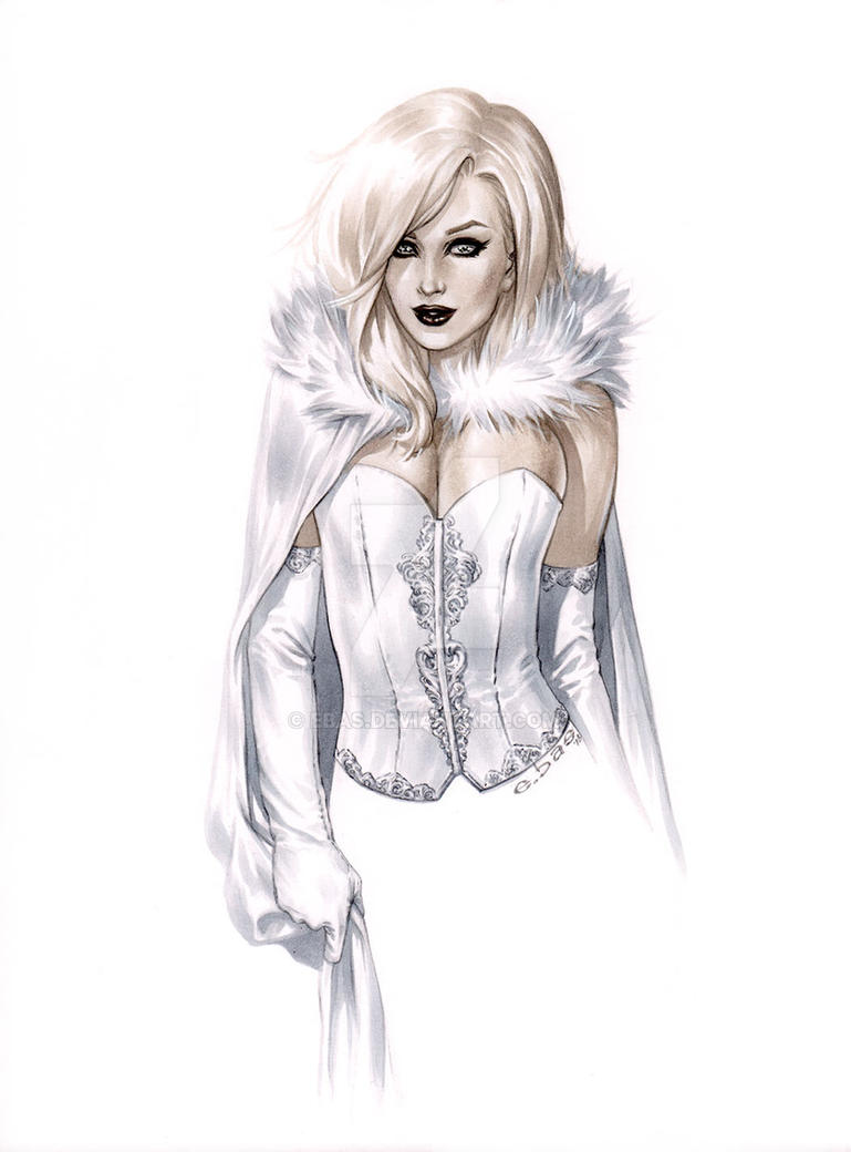 White Queeen Torso sun cape Copic no ink HRES epso by ebas
