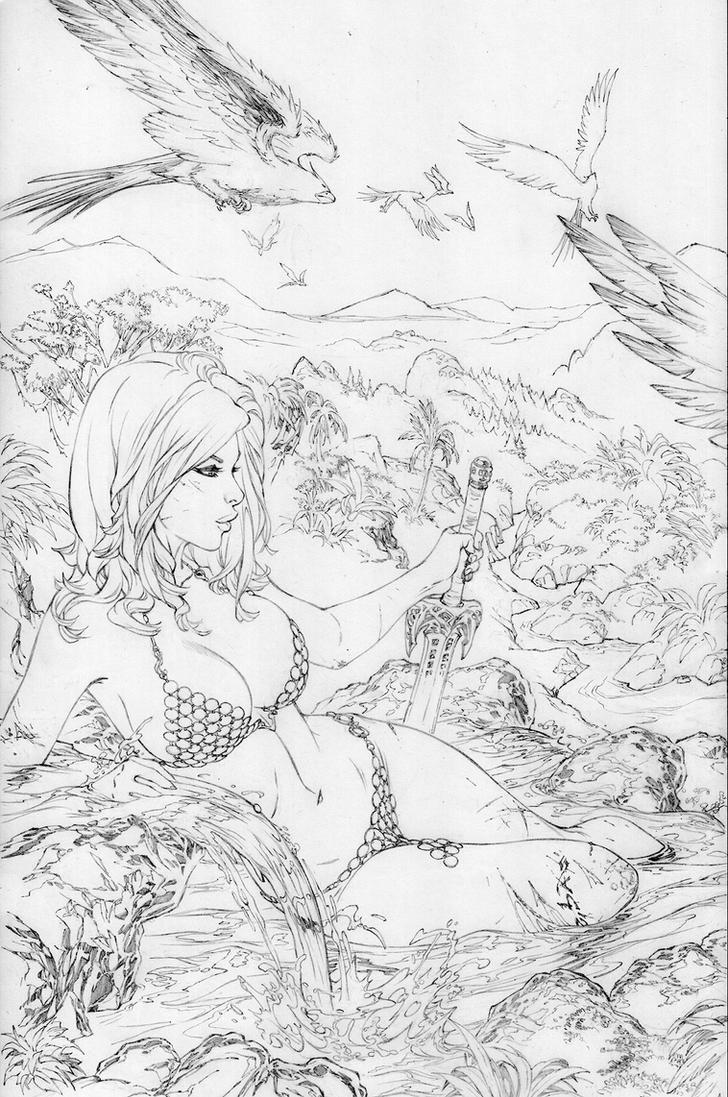 Red Sonja relaxing  by ebas