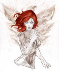 Dark Phoenix with her fire in Copic by me eBas