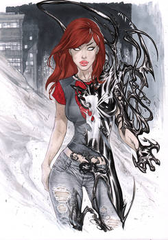 MaryJane Watson Venomized In Copic marker
