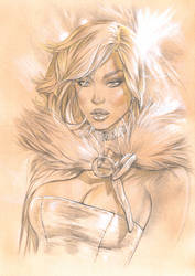 White Queen aka Emma Frost Sepia pencil Bust by me