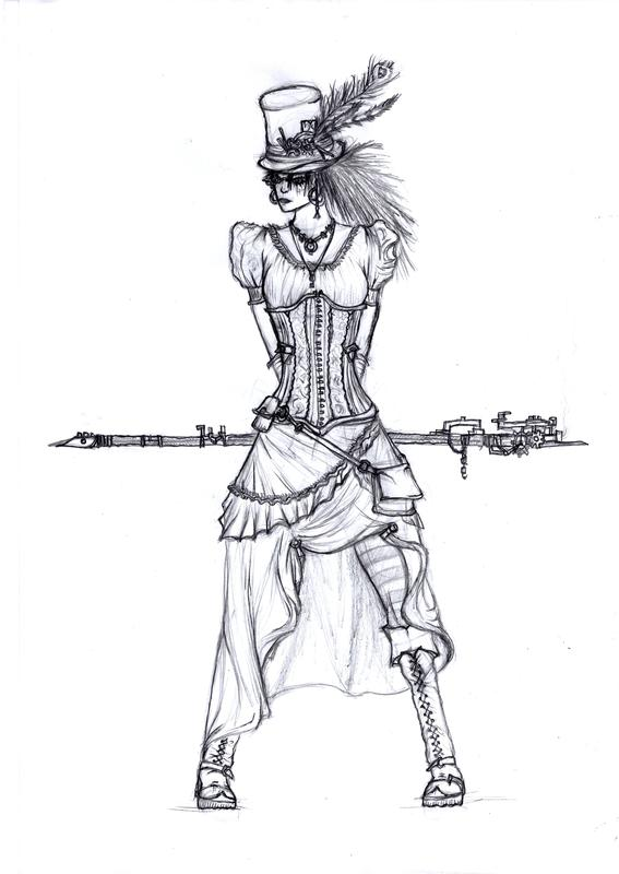 how to draw steampunk bookl