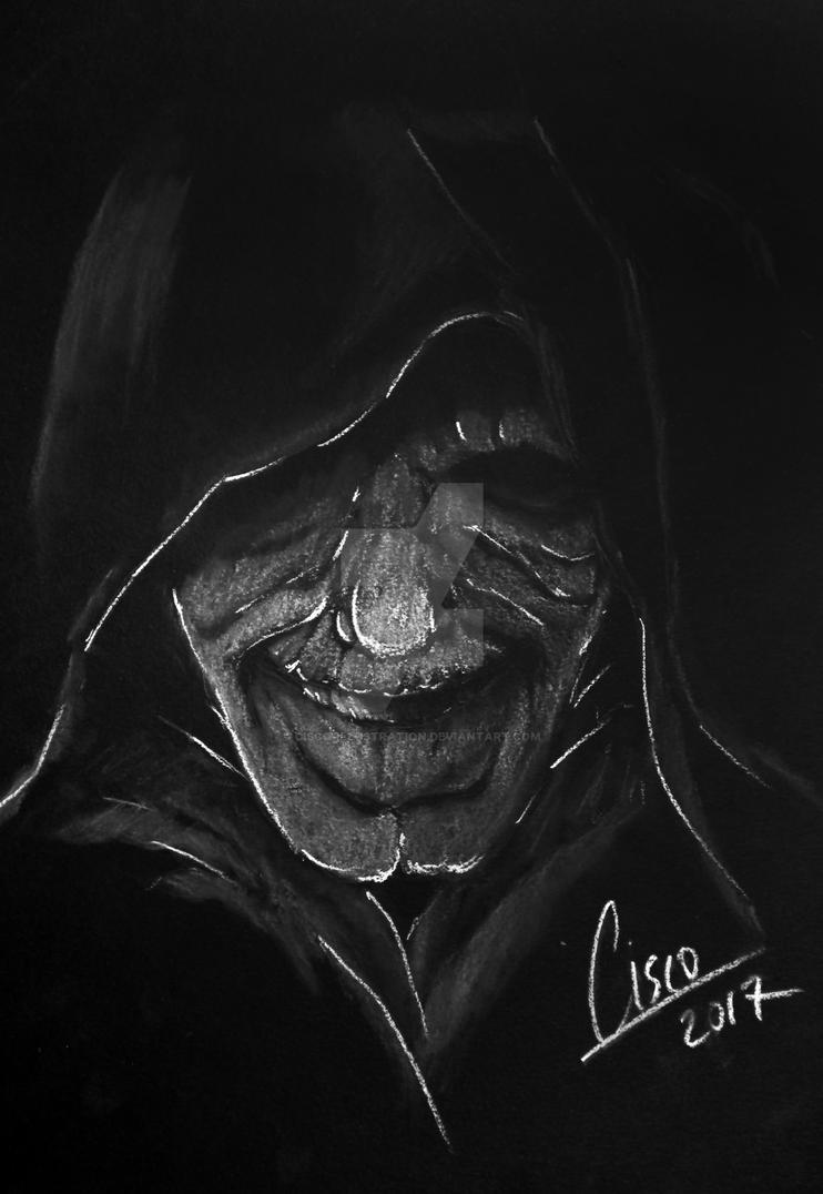 Darth Sidious - White on black illustration by Cisco-Illustration