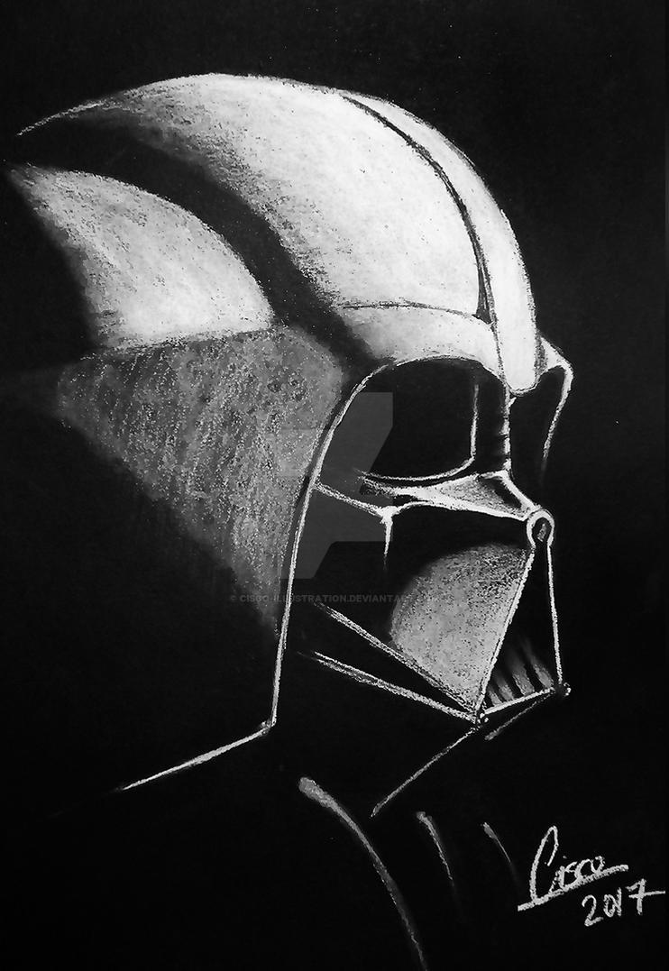 Darth Vader - White on black illustration by Cisco-Illustration