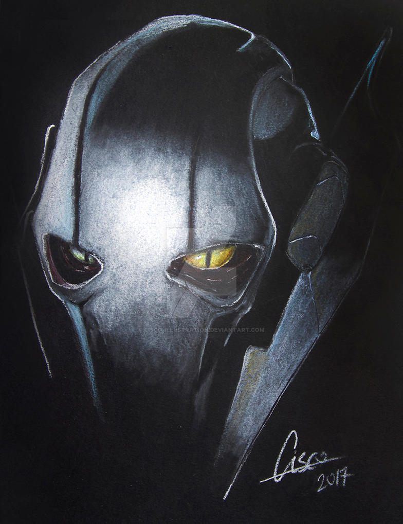 General Grievous- White on black illustration by Cisco-Illustration