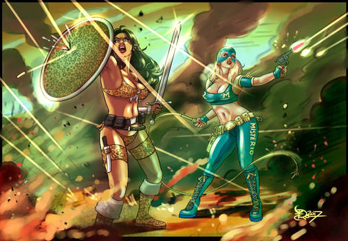 Amazona Negra y Reina Misterio en batalla