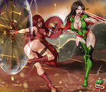 Hyper Girl and Justicia Roja teamup by 7th--Heaven by Cityhunter77