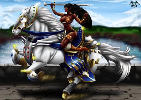 Destello Radiante Heroico y Amazona Negra