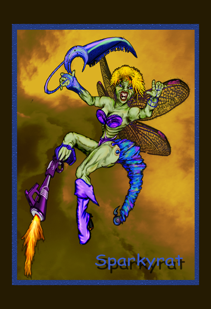 Ass Kicking Insectoid Damsel by sparkyrat