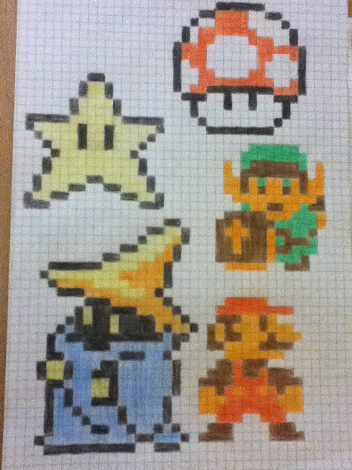 how to draw mario characters on graph paper
