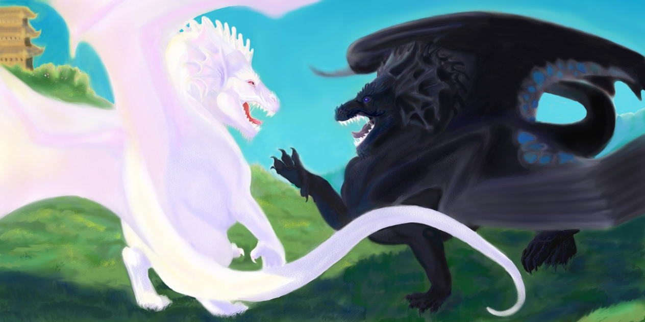 Temeraire And Lien Duel By Paintedkelpie