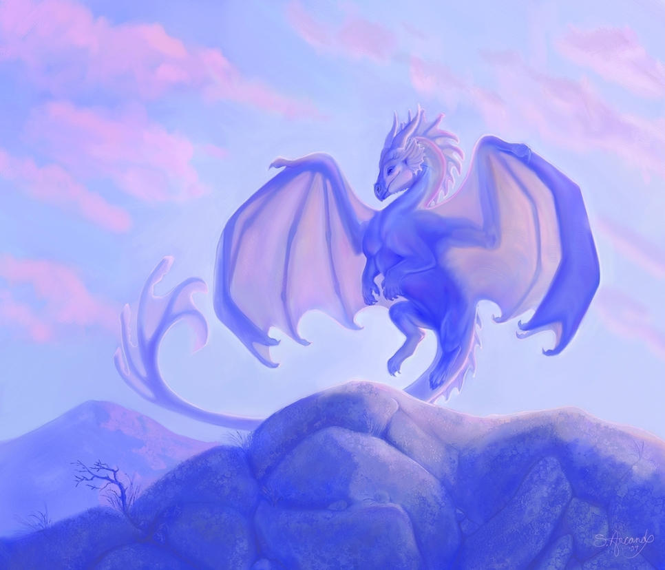 Mountain coast dragon by PaintedKelpie