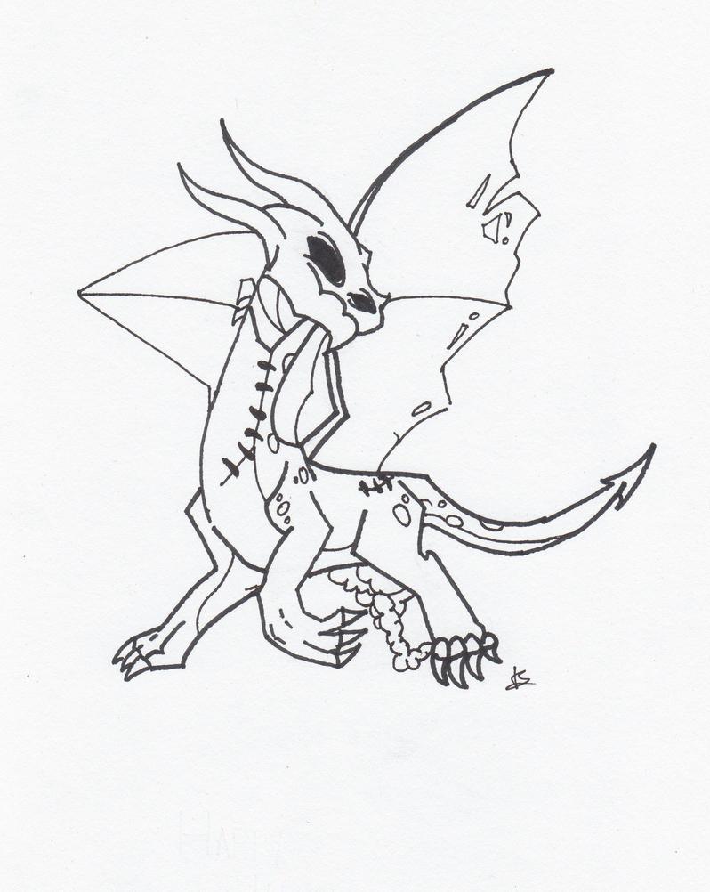 Zombie Line Art : Zombie dragon line art by dudeitsjackk on deviantart