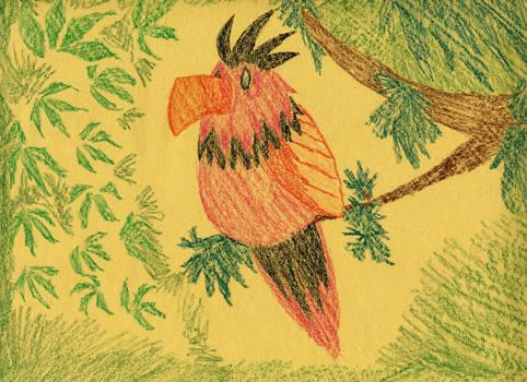 tropical crayon bird