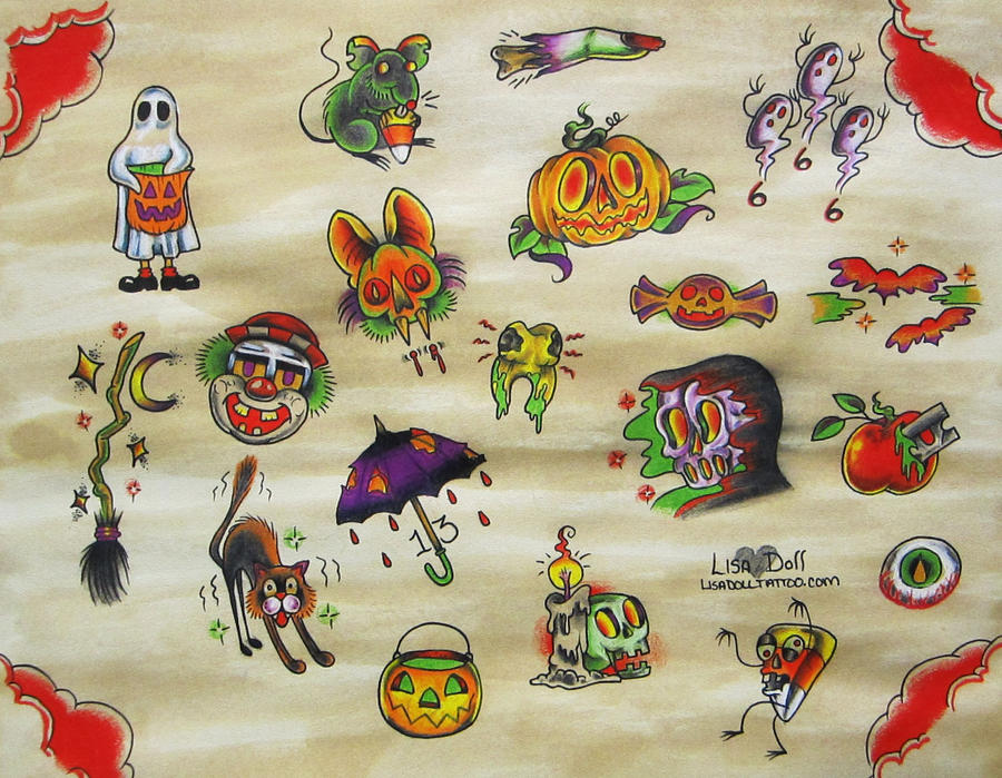 Halloween Tattoo Flash by mutantmuffinz on DeviantArt