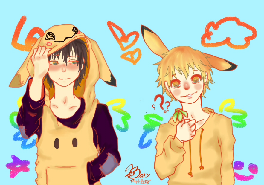 Mimikyu And Pikachu Human by PinaBerry
