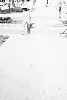 pedestrian on a white day