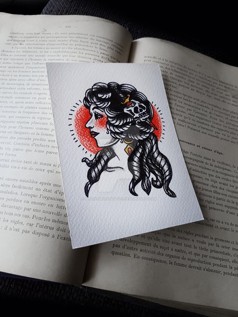 Traditional Old School Lady - Tattoo Flash by BlacksmithTattoo