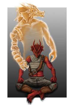 2020, digital - Azzar, a young red dragonborn