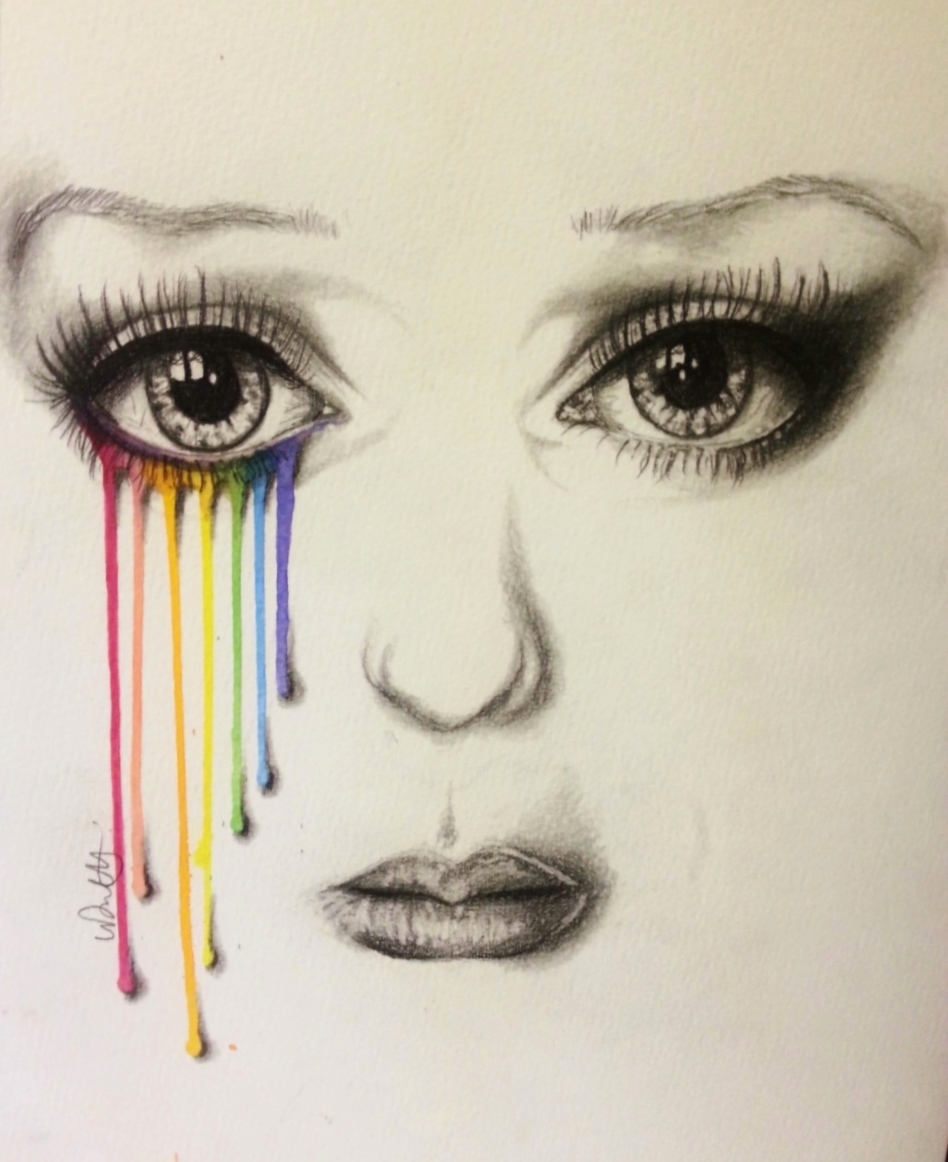 Has a rainbow coloured drawing by vondie traditional art drawings