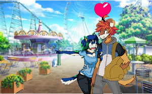 Vday pic- Rusty and Robin at the amusement park