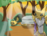 Renamon Family in a Forest Commission