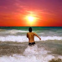 Sundown in the ocean