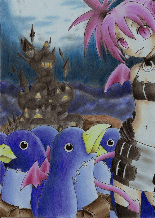 Etna with prinnies by yaten-no-kittygirl