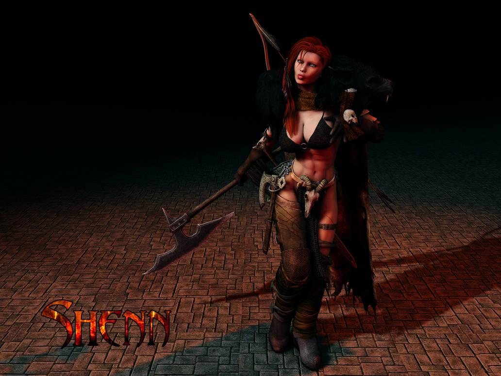 Shenn, Female Human Barbarian by Hellwolve