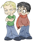 Draco and Harry, Chibi-fied by lena9