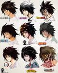 L in 9 Manga Art Styles [by A2T will Draw]