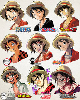 Luffy in 9 Manga Styles [by A2T will Draw]