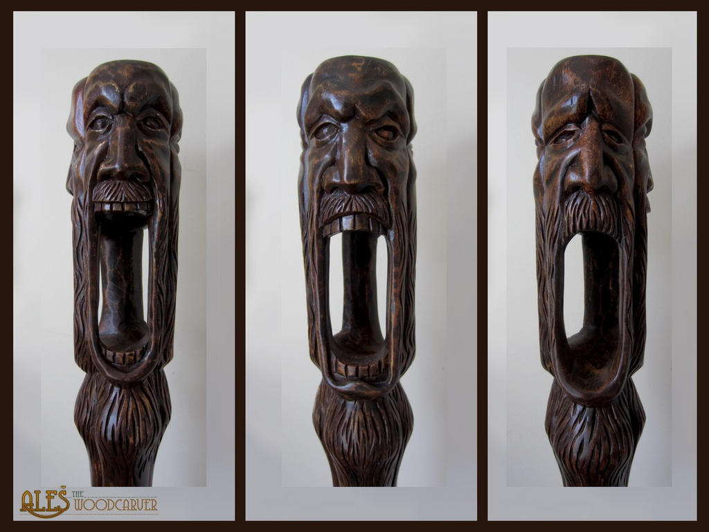 Wabbajack wood carving detail of the faces by