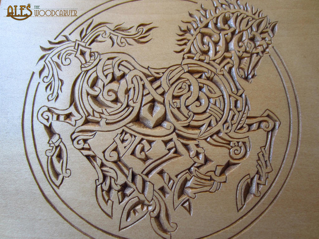 Sleipnir chip carving detail of a trinket box by
