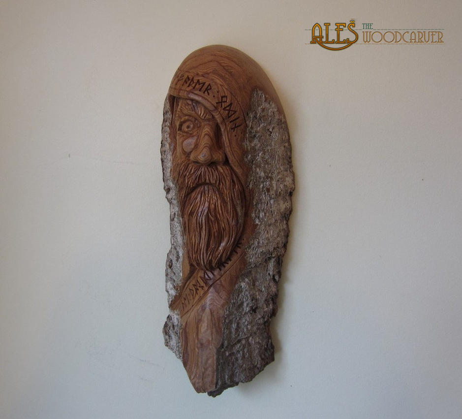 Odin - wood carving by alesthewoodcarver