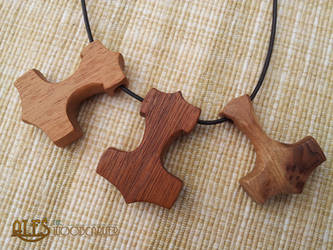 Thor's hammer necklaces - hand carved Mjollnir by alesthewoodcarver